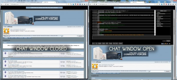 Chat window both closed and open